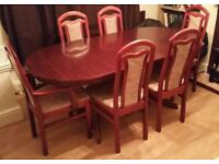 6 Seater Dining Room Extendable Table - Dark Wood