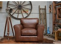 Ex Display John Lewis Leon Leather Snuggler Armchair Brown