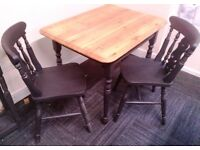 Upcycled shabby chic farmhouse style table and 2 chairs £95
