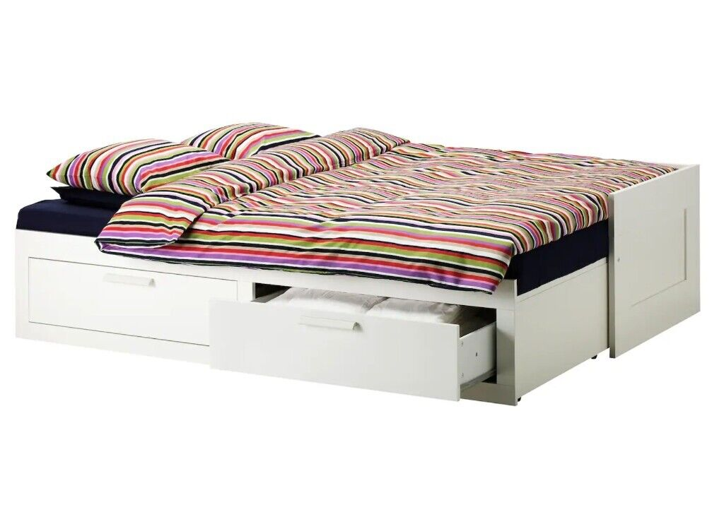 new concept 41070 7d104 IKEA BRIMNES Day-bed / Sofa-bed with 2 drawers/2 mattresses, white, Husvika  firm, 80x200 cm | in Tower Hamlets, London | Gumtree