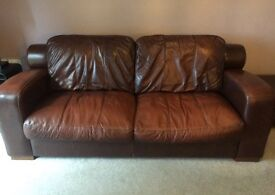 *** 3 piece brown leather sofa £100!!!! ***