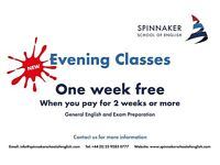 EVENING COURSES - One Week Free when you pay for 2 weeks or more