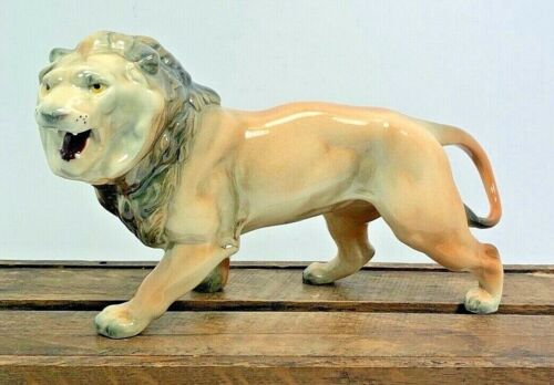 "Calif Pottery Glazed Lion 9"" Figurine Porcelain King of The Wild"
