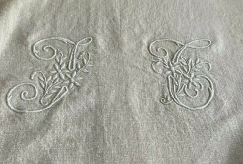 TC monogram French cotton sheet natural unbleached 1940