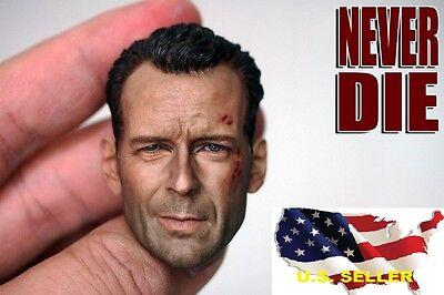 1 6 Bruce Willis Head John Mcclane Die Hard Bashing For Hot Toys Phicen  Usa