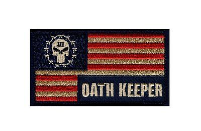 Three 3% Percenter Oath Keeper Punisher Flag Morale Hook Patch (TOP3) ](Oath Keeper)