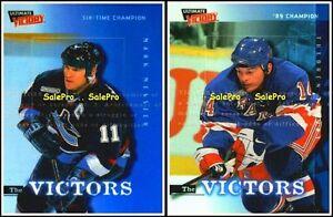 2x-UD-ULTIMATE-VICTORY-1999-MARK-MESSIER-V1-THEOREN-FLEURY-VICTORS-MINT-V8-LOT