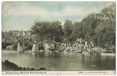 Danville Illinois IL ~ Boating Scene at Ellsworth Park ~ C.U. Williams c.1912 for sale  Rolling Prairie
