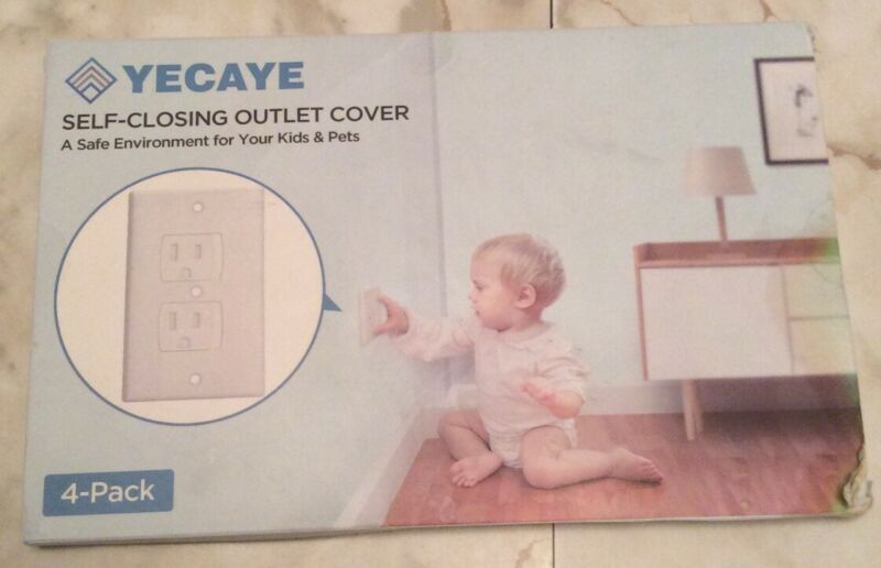 Yecaye Self-Closing Outlet Cover 4 Pack Safe Environment For Kids & Pets