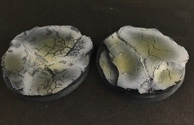 50mm (2) Slate Rock Battle Damage Scenic Resin Miniature Base Warhammer (Resin Scenic Base)