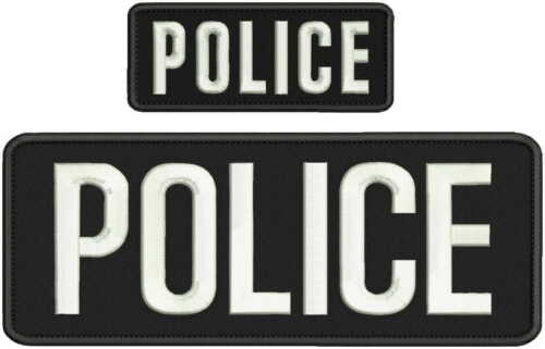 POLICE embroidery patches 4x10 and 2x5 hook on back white letters.