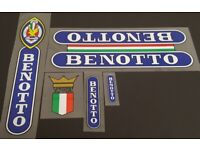 Benotto Down Tube Decals with Colored Bands sku 11510 1 Pair