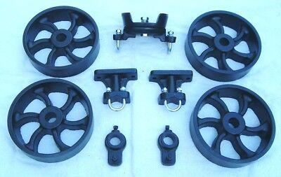 Antique Hit Miss Gas Engine Cart Parts Set Cast Iron Six Spiral Spoke Wheels
