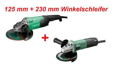 Hitachi Winkelschleifer-SET G13STA + G23ST 125mm600W 230mm2000W + 2 Dia-Scheiben