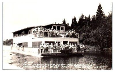 RPPC Twin Screw River Boat, Tahquamenon River Trip, Newberry, MI Postcard