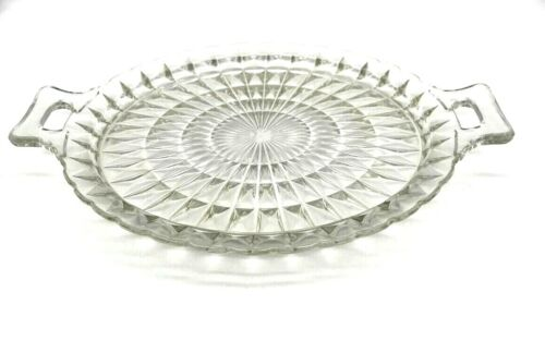 Depression Glass Windsor Platter Clear Crystal  RARE Closed Handles Jeanette