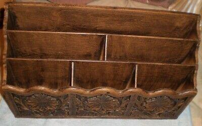 Vintage Lerner Desk Organizer Paper Mail Pen Holder Sorter Faux Carved Wood