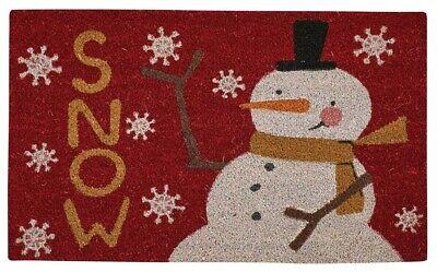Snow Friends Coir Doormat by Park Designs - Snowman Vinyl Backing Outdoor