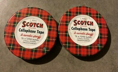 Vintage Pair of Scotch Cellophane Tape Tins Only Free Shipping