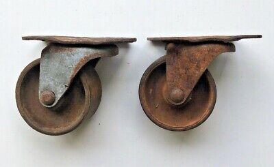 2 Vintage Antique Swivel Metal Casters Steampunk Industrial Restoration