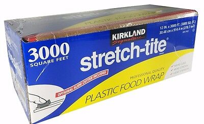 Kirkland Signature Stretch-Tite Plastic Food Wrap 3000 SQFT with Optional Cutter (Clear Plastic Food Wrap)