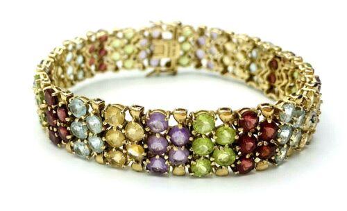 Vtg ROSS SIMONS 18kt Gold over Sterling Silver Multi Gemstone Tennis Bracelet