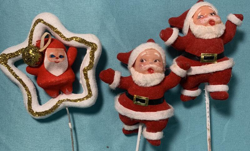 "Lot Vintage Waving Santa Christmas Decoration Flocked Picks Plastic Face - 3"""