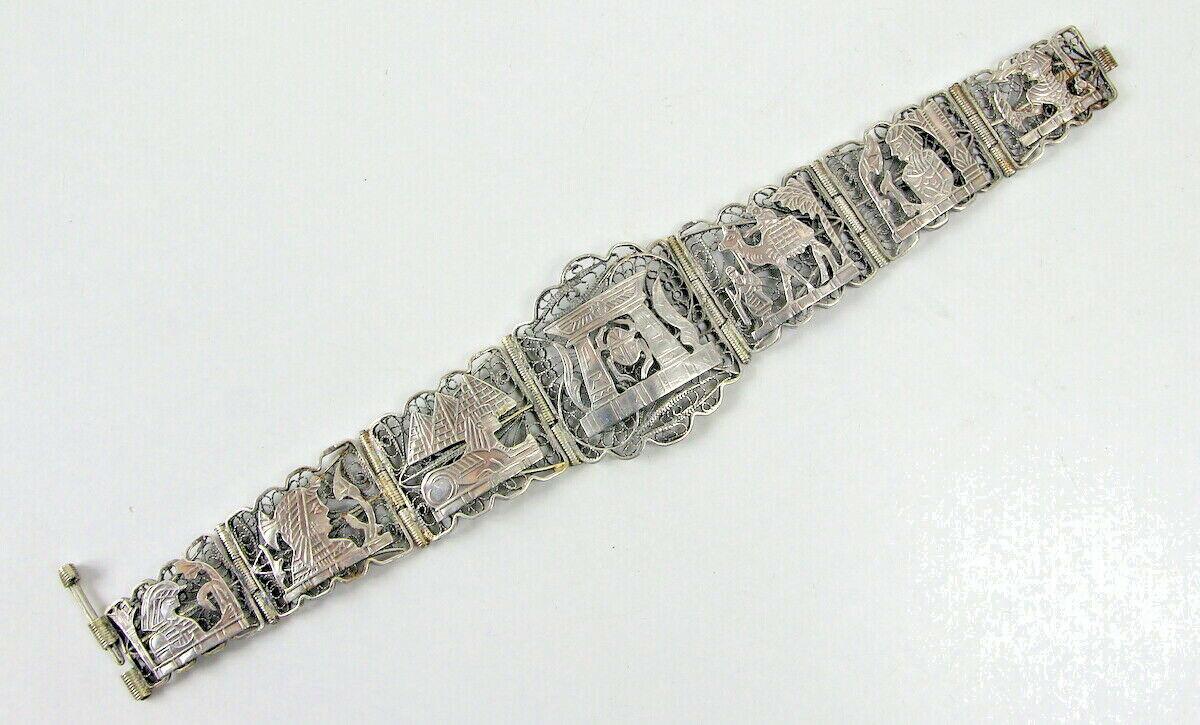 Egyptian Revival Silber Armband, Art Deco Filigran Schmuck, Skarabäus Pharao