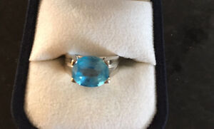 Beautiful Blue Topaz Ring Size 5 white gold