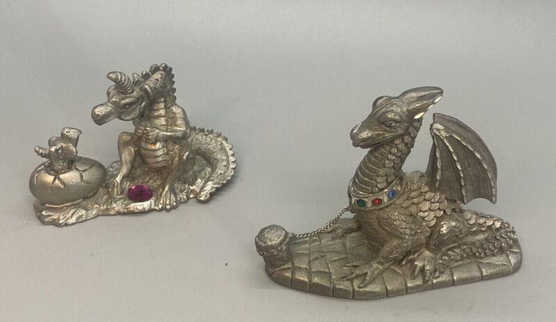 Pewter Mystical Spoontiques Dragon Figurine Lot Of Two Rhinestones