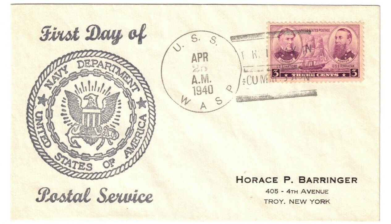 USS WASP CV-7, APR 25, 1940, FIRST DAY IN / COMMISSION - $4.25