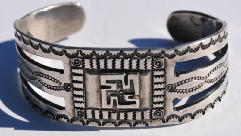 Fred Harvey Era Vintage Navajo Whirling Log Silver Cuff Bracelet