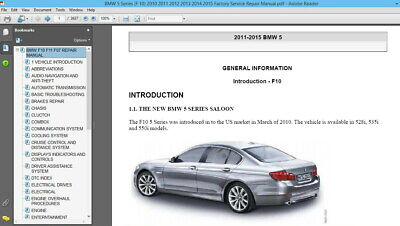 BMW 5 Series (F 10) 2010 2011 2012 2013 2014 2015 Factory Service Repair Manual
