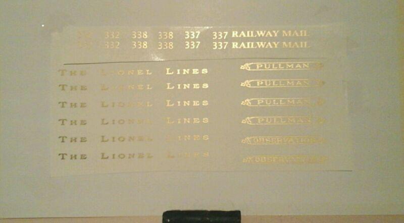 LIONEL STANDARD SCALE 332-337-338 GOLD METALLIC WATERSLIDE DECALS PASS.CAR LOOK!