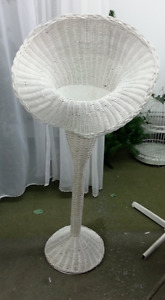 Vintage white wicker floral stands. Large  set of 2