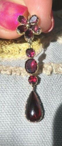 Antique Georgian Garnet Foiled Pendant Flower Pansy Necklace 15ct
