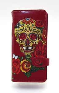 SHAGWEAR Wallet ~ Sugar Skull on Red Snap Tab Zippered Long Wallet ~ New