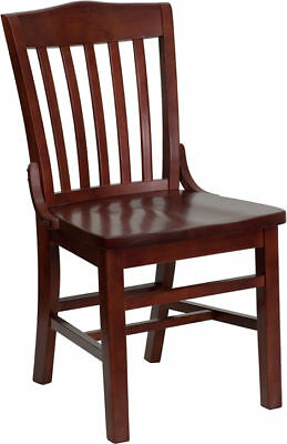 10 Mahogany Wood Frame School House Back Dining Restaurant Chairs Matching Seat