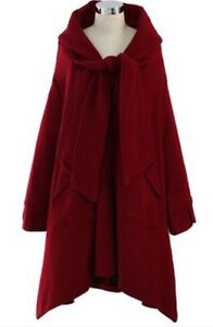 Red wool winter coat, size S-M
