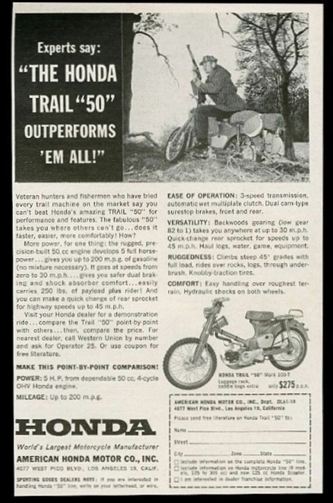 1961 Honda Trail 50 Mark 100-T motorcycle 2 photo vintage print ad