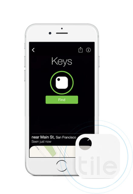 Tile 2nd Gen Smart Key Connects Keychain 1 Pack For IOS Phones & Android Devices