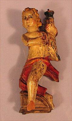 Jahrhundert Holz Geschnitzt (Alter Leuchterengel  Holz geschnitzt 19 Jahrhundert)