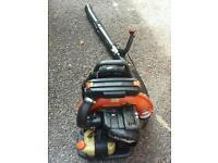 Two petrol back pack leaf blower