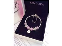 Pandora bracelet 19cm with 8 charms