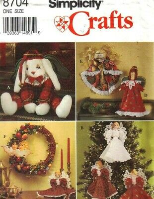 Simplicity 8704 Christmas Bunny, Wreath, Victorian Angels or Tree Topper Pattern Christmas Wreath Pattern