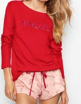 New Victorias Secret Fashion Show 2017 Pajama Top Flannel Short Set ANGEL-XS