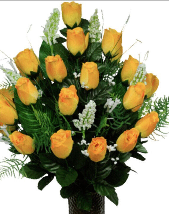 Headstone Cemetery Tombstone Saddle Spring Silk Flowers Yellow Rose