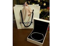 Genuine Pandora moments silver clasp bracelet 23cm