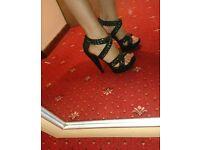 Black & silver chain heels size 6