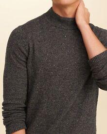 Hollister Mock Neck Sweater Grey Mens_ NEW